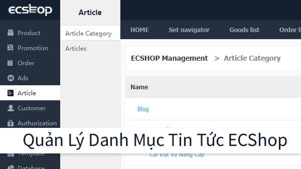 Quản Lý Thêm, Sửa Danh Mục Tin Tức Trong ECShop