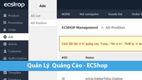 Quản Lý Quảng Cáo AD Trong ECShop
